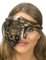 Goudkleurig Steampunk tandwielen masker voor volwassenen