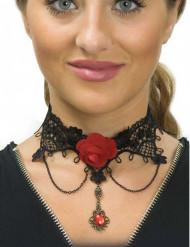 Dia de los Muertos halsband met roos voor vrouwen