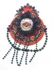 Rode en zwarte Dia de los Muertos mini hoed