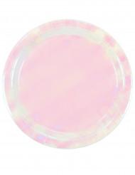 12 regenboogkleurige roze borden van karton