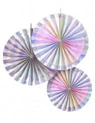 3 kartonnen regenboogkleurige rozetten