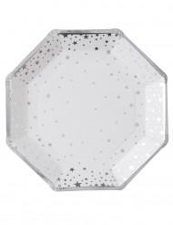 8 witte en zilverkleurige kartonnen borden