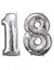 Set zilverkleurige 18 jaar ballonnen