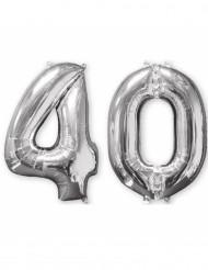 Set van 2 zilverkleurige 40 jaar ballonnen