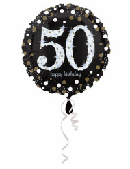 Glanzende Happy Birthday 50 jaar ballon