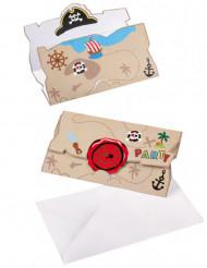 8 piraat uitnodigingen en enveloppen