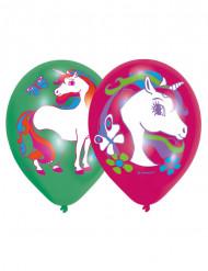 6 latex eenhoorn ballonnen