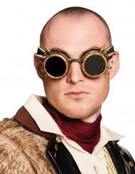 Goudkleurige steampunk bril voor volwassenen