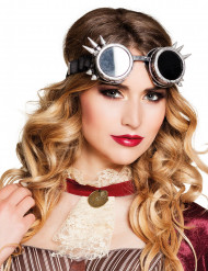 Zilverkleurige Steampunk bril voor volwassenen