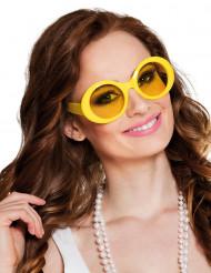 Gele disco bril voor volwassenen