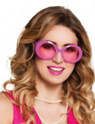Roze grote disco bril voor volwassenen