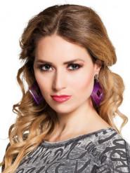 Paarse ruiten clip oorbellen voor vrouwen