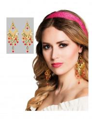 Rood met gouden Orientaalse oorbellen voor dames
