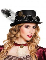 Vliegeniers steampunk hoed met tandwielen voor volwassenen