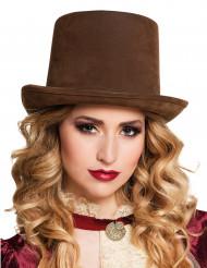 Bruine hoge hoed voor volwassenen