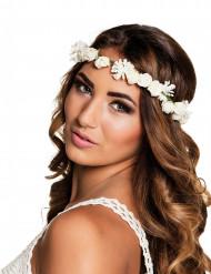 Witte bloemen hoofdkrans voor volwassenen