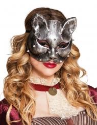 Zilverkleurige Steampunk kattenmasker voor volwassenen