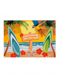 6 uitnodigingen Hawaii Beach Party
