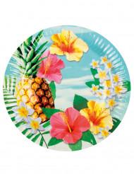6 kartonnen bordjes Hawaii party