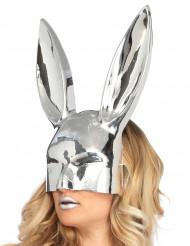 Zilverkleurig chroom konijnenmasker voor volwassen
