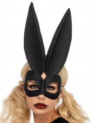 Zwart konijn masker met grote oren voor vrouwen