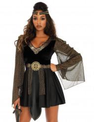Sexy goudkleurig en zwart gladiator kostuum voor vrouwen
