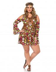 Bloemen hippie kostuum voor dames - Grote Maten