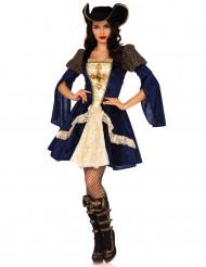 Sexy blauwe musketier kostuum voor vrouwen