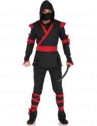 Zwart ninja pak met rode details voor mannen