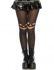 Zwarte panty met pompoenen voor vrouwen