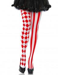 Rode harlekijn panty voor vrouwen