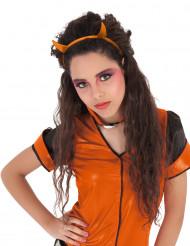Oranje glitter hoorns haarband voor meisjes