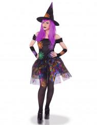 Veelkleurige heksen spinnenweb kostuum voor vrouwen