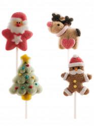 4 kerst marshmallow stokjes