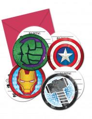 6 Mighty Avengers™ uitnodigingen en enveloppen