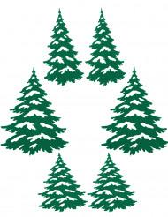 6 groene kerstboom stickers