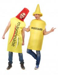 Mayonnaise en mosterd koppelkostuum voor volwassenen