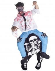 Man op de rug van een skelet kostuum voor volwassenen