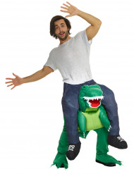 Man op rug van dinosaurus kostuum volwassenen