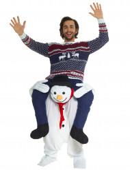 Op de rug van een sneeuwpop kostuum voor volwassenen