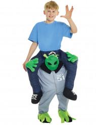 Man op de rug van een alien kostuum voor kinderen