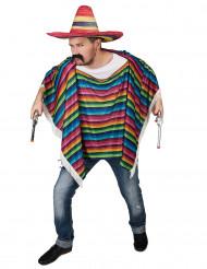 Veelkleurige Mexicaanse poncho met franjes voor volwassenen