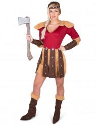 Rood en bruin viking strijder kostuum voor vrouwen