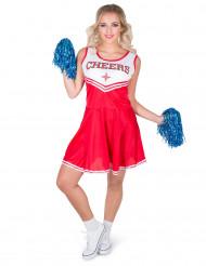 Rood Cheers cheerleader kostuum voor vrouwen