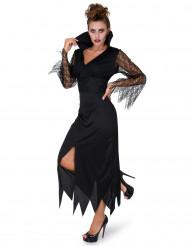 Zwart kanten heksenkostuum voor vrouwen