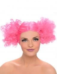 Roze pruik met bollen staartjes voor vrouwen