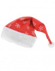 Rode kerstmuts met sneeuwvlokken voor volwassenen
