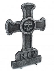 Kruis met doodskop grafsteen decoratie