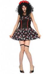 Girly Dia de los Muertos kostuum voor vrouwen
