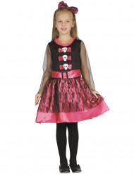 Roze girly skelet kostuum voor meisjes